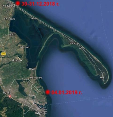 mapa z zaznaczonym miejscem spotkania delfinów
